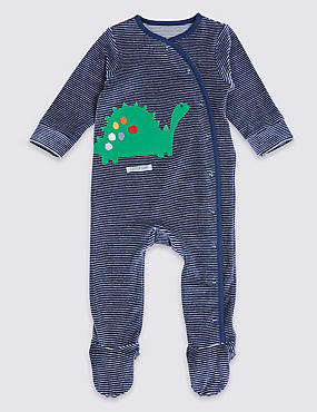 Striped Velour Applique Dinosaur Sleepsuit