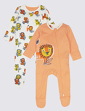 2 Pack Lion Pure Cotton Zip Sleepsuits