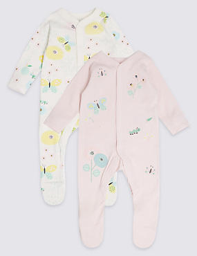 2 Pack Pure Cotton Applique Butterfly Sleepsuits