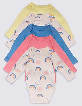 5 Pack Rainbow Print Pure Cotton Bodysuits, MULTI, catlanding