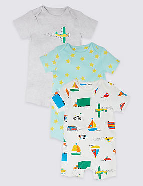 3 Pack Transport Print Pure Cotton Rompers