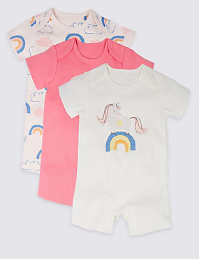 3 Pack Rainbow Unicorn Print Pure Cotton Rompers