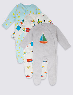 3 Pack Transport Pure Cotton Sleepsuits
