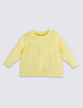 Pure Cotton Pointelle Cardigan, YELLOW, catlanding