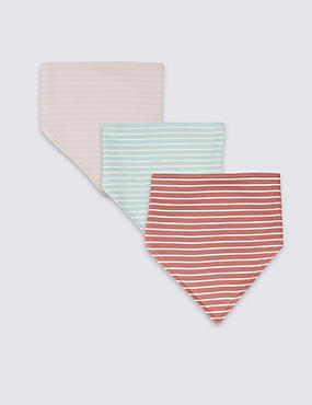3 Pack Pure Cotton Striped Dribble Bibs, PINK MIX, catlanding