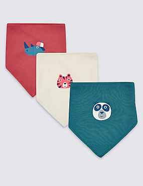 3 Pack Pure Cotton Animal Face Print Bibs