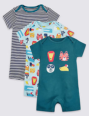 3 Pack Designed Pure Cotton Rompers, TEAL MIX, catlanding