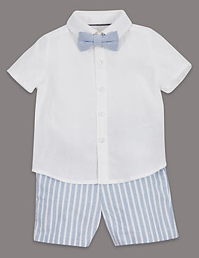 3 Piece Linen Blend Shirt, Shorts & Bow Tie Outfit