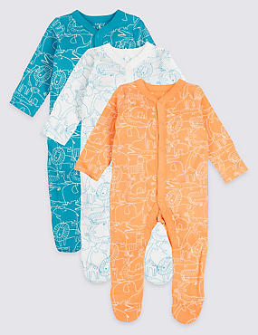 3 Pack Animal Print Pure Cotton Sleepsuits, MULTI, catlanding