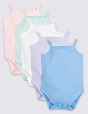 5 Pack Strappy Pure Cotton Bodysuits, MULTI, catlanding
