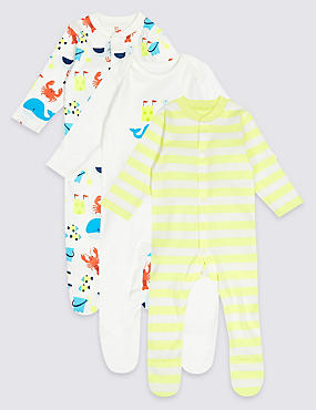 3 Pack Pure Cotton Sea life Sleepsuits, MULTI, catlanding