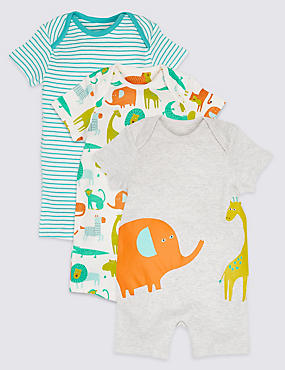 3 Pack Pure Cotton All Over Print Rompers