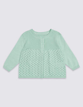 Pure Cotton Pointelle Cardigan