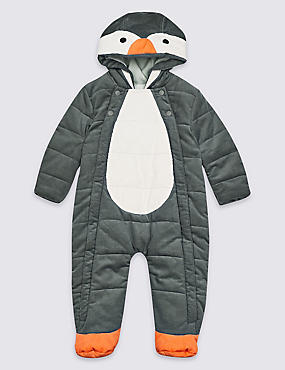 Pure Cotton Penguin Pramsuit, LIGHT GREY MIX, catlanding