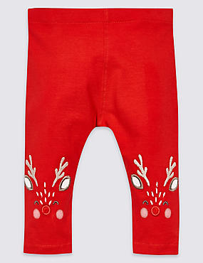Cotton Rich Reindeer Leggings with Stretch, RED, catlanding