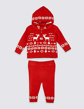 2 Piece Fairisle Knitted Top & Leggings Outfit, RED MIX, catlanding