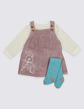 3 Piece Pinafore & Bodysuit with Tights