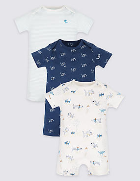 3 Pack Pure Cotton Rompers