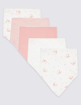 5 Pack Animal Print Pure Cotton Dribble Bibs, MEDIUM PINK, catlanding