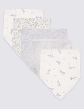 5 Pack Printed Pure Cotton Dribble Bibs, GREY, catlanding