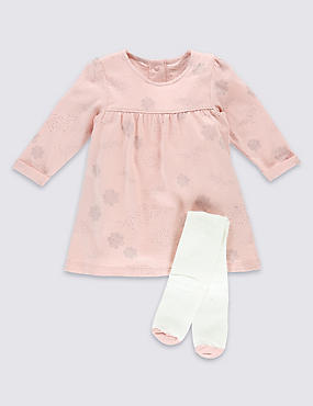 2 Piece Cotton Rich Cloud Print Dress with Tights