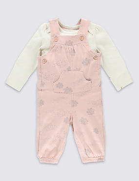 2 Piece Pure Cotton Cloud Print Bodysuit & Dungarees Outfit
