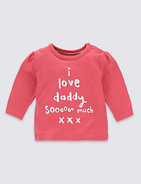 Pure Cotton I Love Daddy So Much Slogan T-Shirt
