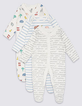 3 Pack Pure Cotton Printed Sleepsuits