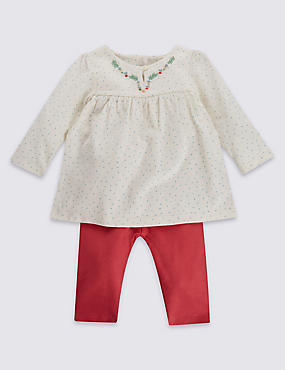 2 Piece Pure Cotton Spot Tunic & Leggings Outfit