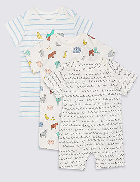 3 Pack Pure Cotton Printed Rompers