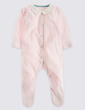Velour Striped Sleepsuit