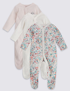 3 Pack Girls' Assorted Sleepsuits