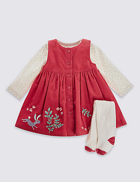 3 Piece Pure Cotton Applique Dress, Bodysuit & Tights Outfit