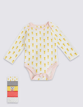 5 Pack Pure Cotton Assorted Long Sleeved Bodysuits