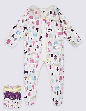 3 Pack Pure Cotton Assorted Print Sleepsuits