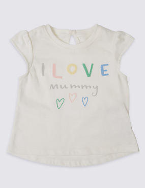 Pure Cotton I Love Mummy Slogan Top