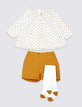 3 Piece Pure Cotton Top, Shorts & Tights Outfit