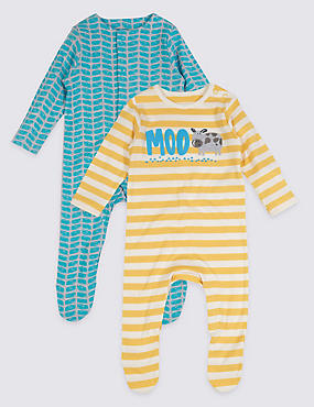 2 Pack Pure Cotton Baby Sleepsuits
