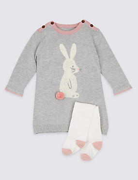 2 Piece Bunny Knitted Baby Dress with Tights