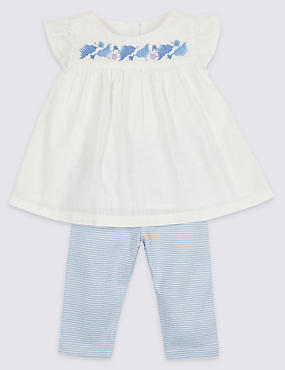 2 Piece Woven Top & Leggings Outfit, WINTER WHITE, catlanding