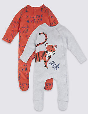 2 Pack Pure Cotton Tiger Print Sleepsuits