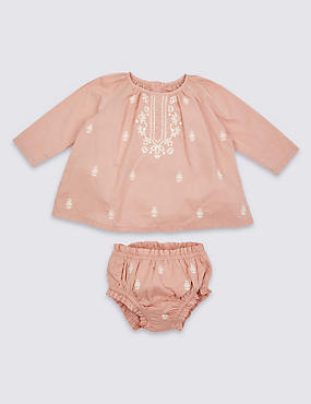2 Piece Pure Cotton Embroidered Outfit