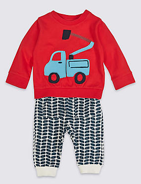 2 Piece Applique Truck Jersey Outfit