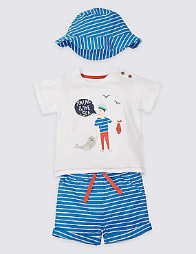 3 Piece Pure Cotton T-Shirt & Shorts with Hat Outfit