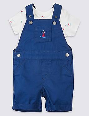 2 Pack Pure Cotton Bodysuit & Dungarees Outfit