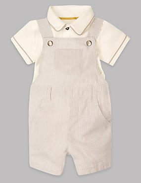 2 Piece Pure Cotton Dungaree & Bib Short Outfit