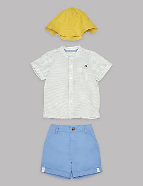 3 Piece Pure Cotton Shirt & Shorts with Hat Outfit