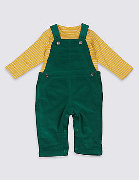 2 Piece Pure Cotton Bodysuit & Cord Dungarees Outfit