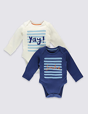 2 Pack Boys' Pure Cotton Bodysuits