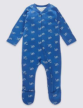 Pure Cotton Dog Print Sleepsuit